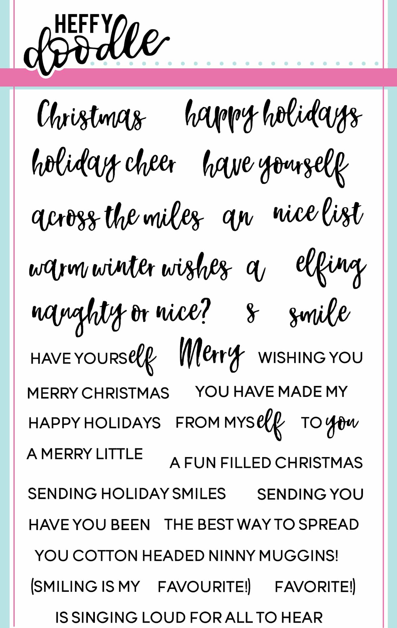 Elfing Christmas Words Clear Stamp Set