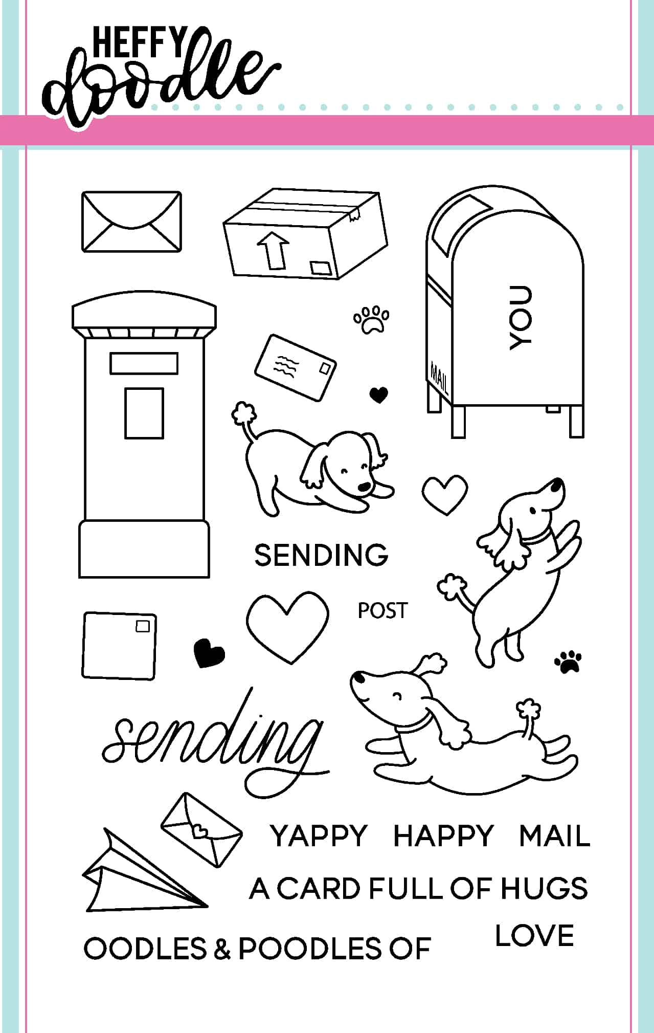 Yappy Happy Mail Clear Stamp Set